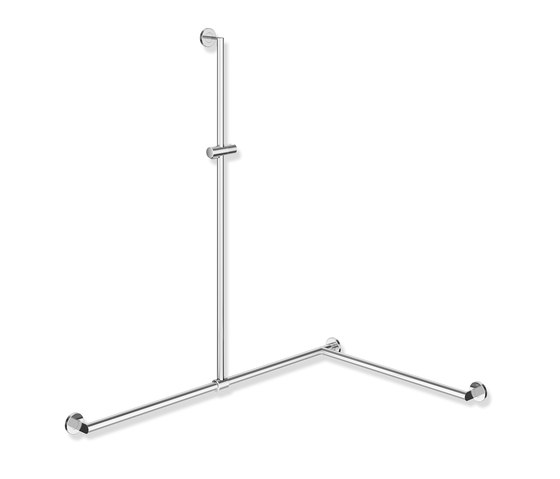 Rail with sideways adjustable vertical support bar and shower head holder chrome | 900.35.33540 di HEWI | Maniglioni bagno