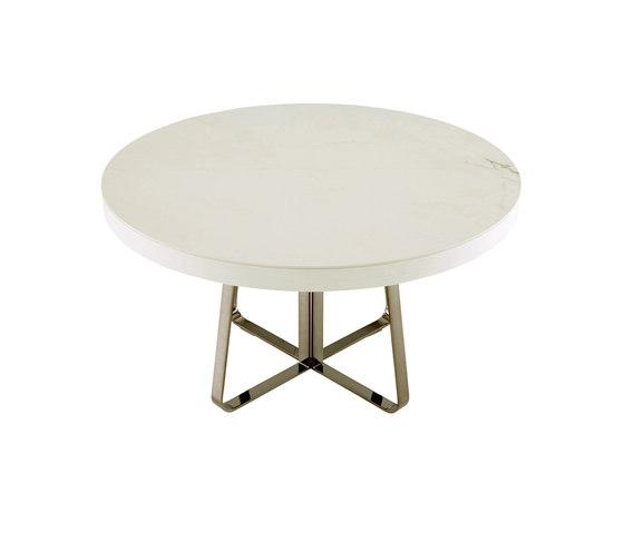 Ava | Dining Table White Marble-Effect Ceramic Stoneware + White Fenix Extension Black Chromed Base by Ligne Roset | Dining tables