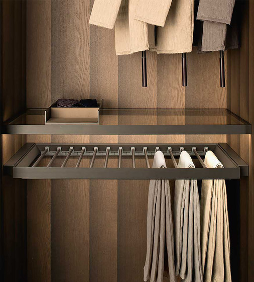 Pull-Out Tray With Trousers & Skirt Hangers by Former | Wardrobes