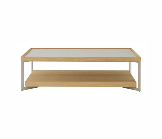 Estampe | Table Basse Rectangulaire Chene Scié Naturel / Laque Argile de Ligne Roset | Tables basses