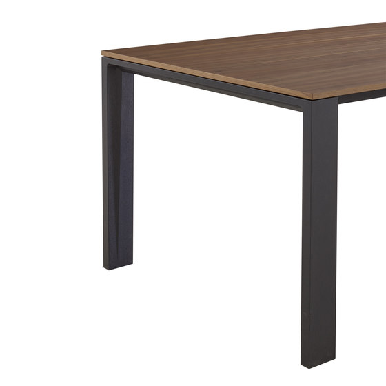 Naïa | Extending Dining Table Walnut Legs In Black Stained Oak by Ligne Roset | Dining tables