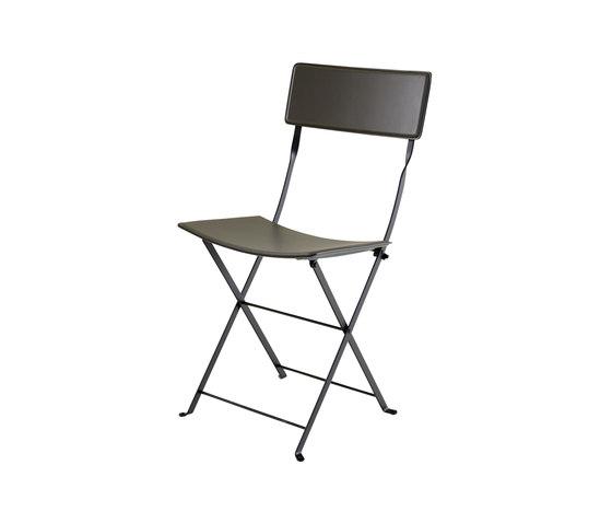 Sellier | Klappstuhl - Gestell Lack Schwarz Spaltleder Mit Pigmentierung Ardoise (75) Lagerware von Ligne Roset | Stühle