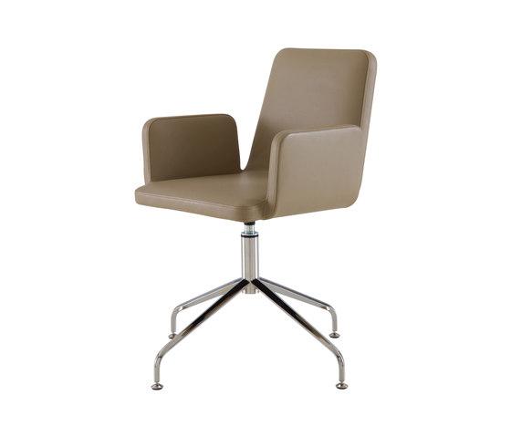 Vik | Bridgestuhl - Ohne Griff Viersterndrehgestell Hochglanzverchromt von Ligne Roset | Stühle