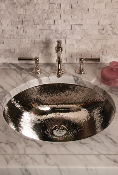Stainless Steel Oval Bath Sink with Hammered Interior by Stone Forest   Wash basins