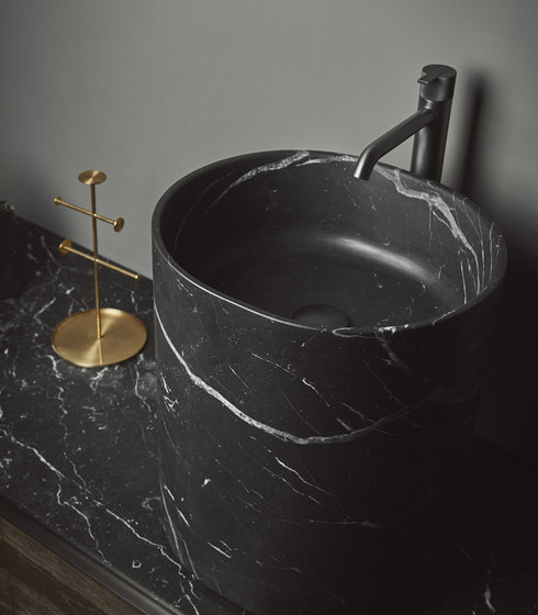 Giro Top Mounted Black Marquina Marble H45 Washbasins by Inbani | Wash basins