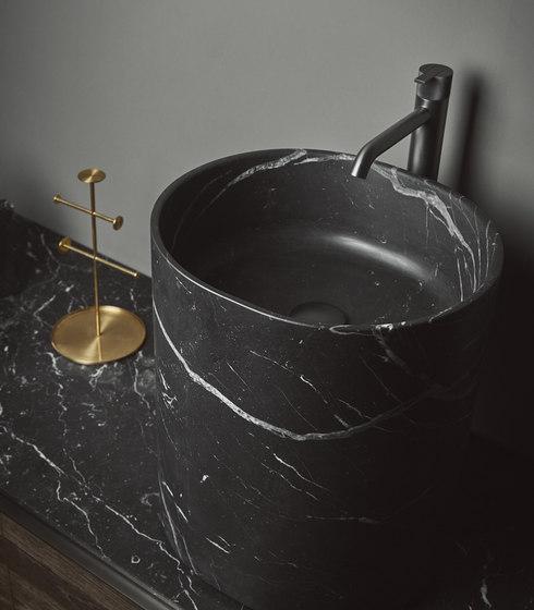 Giro Top Mounted Black Marquina Marble H45 Washbasins von Inbani | Waschtische