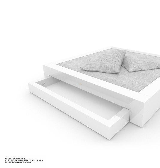 CAMA I-I edición especial - Lacado piano blanco de Rechteck   Camas