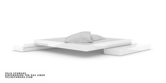 BED VI special edition - Piano lacquer white by Rechteck   Beds