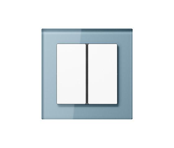 A Creation | F40 push button blue grey glas de JUNG | Interruptores pulsadores
