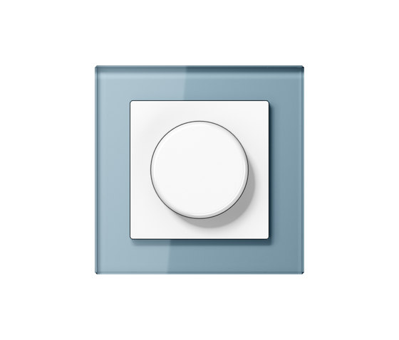 A Creation | rotary dimmer blue grey glass by JUNG | Rotary switches