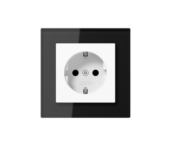 A Creation | socket black glass by JUNG | Schuko sockets