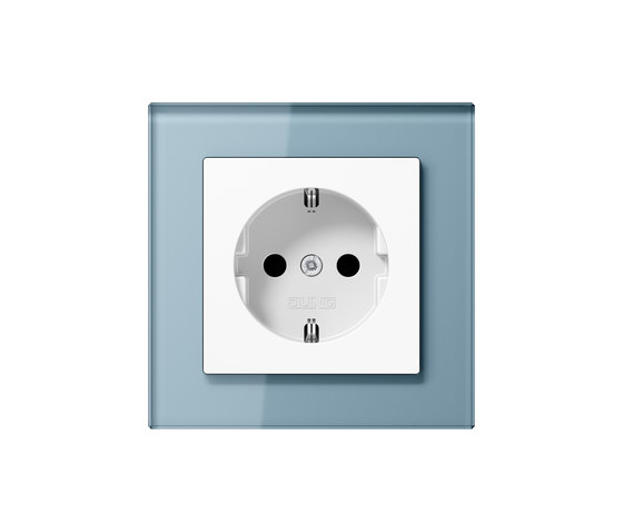 A Creation | socket bue grey glass by JUNG | Schuko sockets