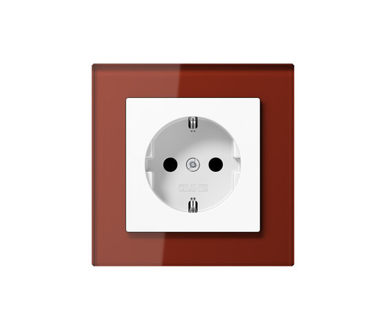 A Creation socket red glass by JUNG | Schuko sockets