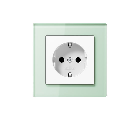 A Creation | socket soft white glass by JUNG | Schuko sockets
