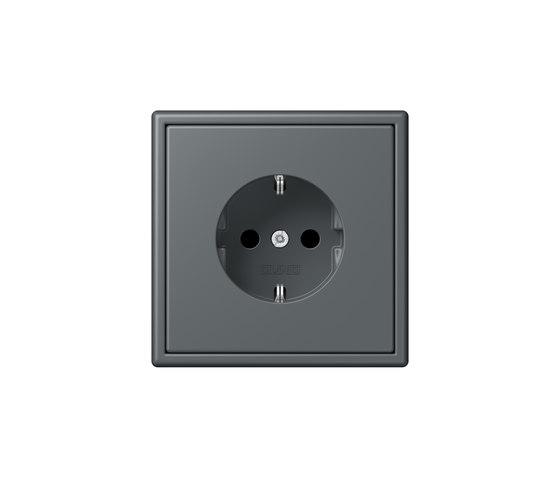 LS 990 in Les Couleurs® Le Corbusier   socket 32010 gris foncé by JUNG   Schuko sockets
