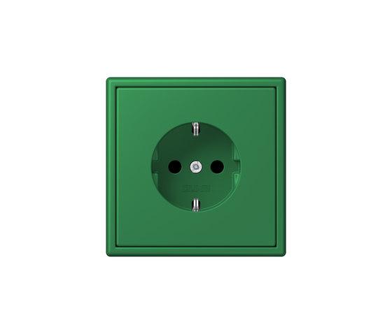 LS 990 in Les Couleurs® Le Corbusier socket 32050 vert foncé by JUNG | Schuko sockets