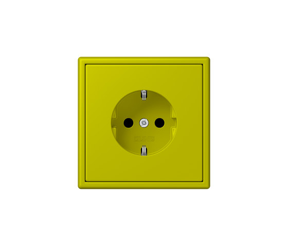 LS 990 in Les Couleurs® Le Corbusier | socket 4320F vert olive vif by JUNG | Schuko sockets