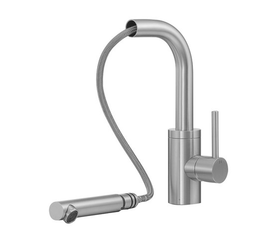 Fasson 40 mm single-lever kitchen tap with extendable outlet and hand shower de CONTI+ | Griferías de cocina