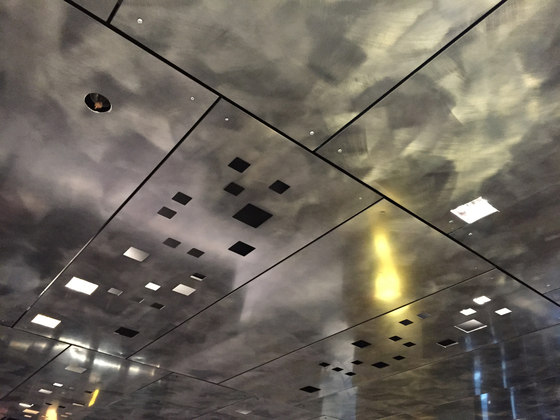Custom Laser Cut Ceiling in Classic Metal Collection in  Graphic in Polycoat Matte by Moz Designs | Metal sheets
