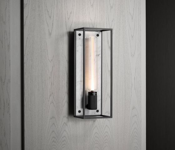 Caged Wall 1.0 Large | Polished White Marble | Buster Bulb Tube by Buster + Punch | Wall lights