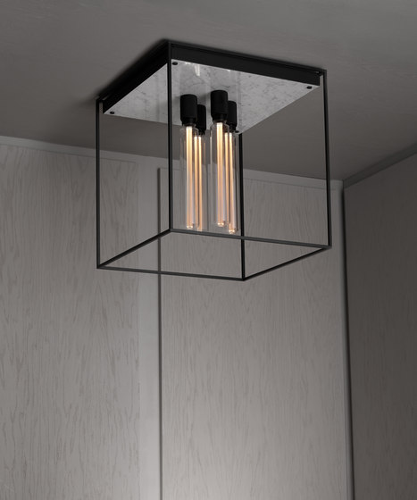Caged Ceiling 4.0 | Polished White Marble | Buster Bulb Tube by Buster + Punch | Ceiling lights
