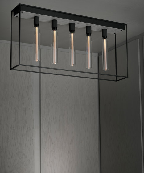 Caged Ceiling 5.0 | Polished White Marble | Buster Bulb Tube di Buster + Punch | Lampade plafoniere