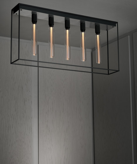 Caged Ceiling 5.0 | Brushed Steel | Buster Bulb Tube by Buster + Punch | Ceiling lights