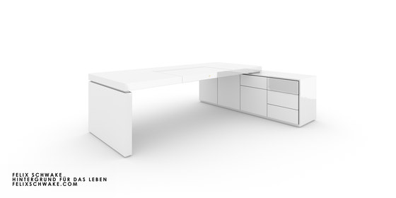 DESK IV-I special edition - Piano lacquer white by Rechteck | Contract tables