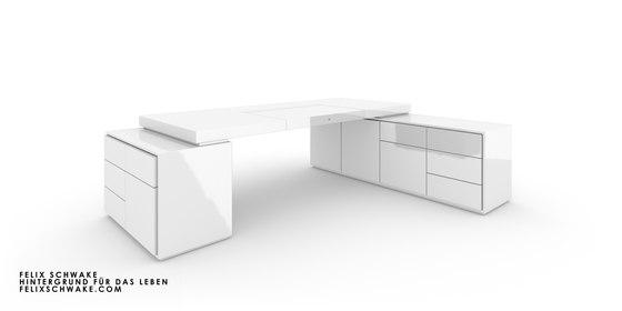 BUREAU IV-II-I édition spéciale - Piano laqué blanc de Rechteck | Tables collectivités