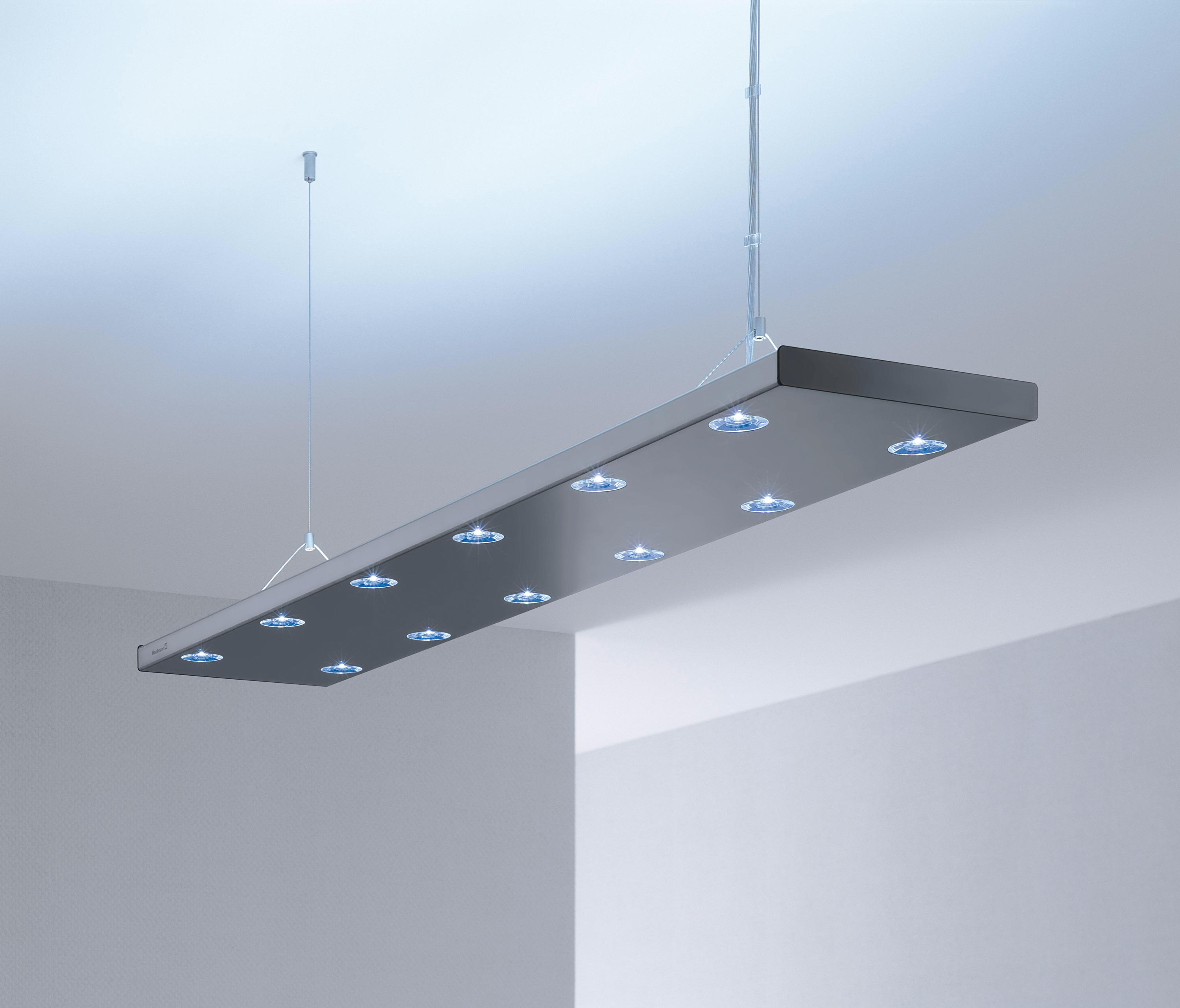 Hybrid led suspended luminaire pendant strip lights by h for Suspente luminaire