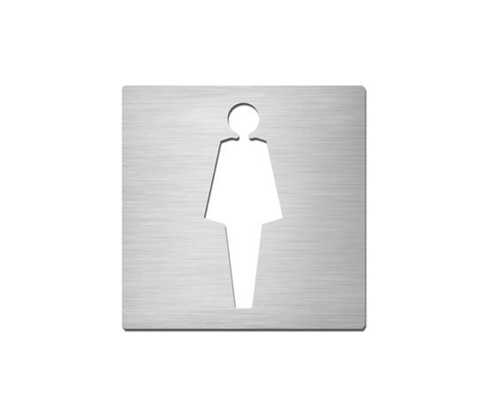 Pictograms square stainless steel ladies toilet signs from serafini architonic for Stainless steel bathroom signs