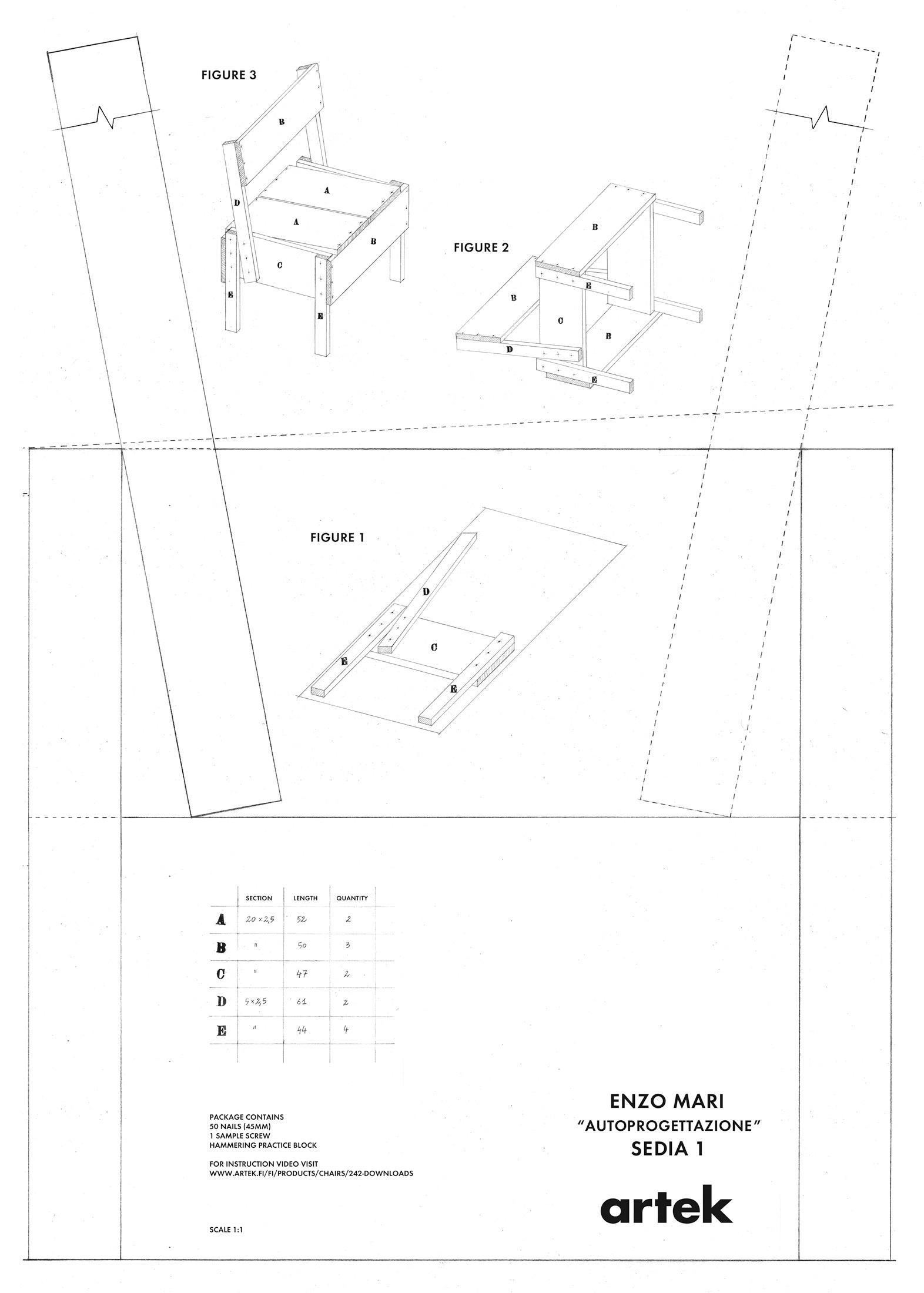 Sedia 1 chair restaurant chairs from artek architonic for Sedia 1 enzo mari