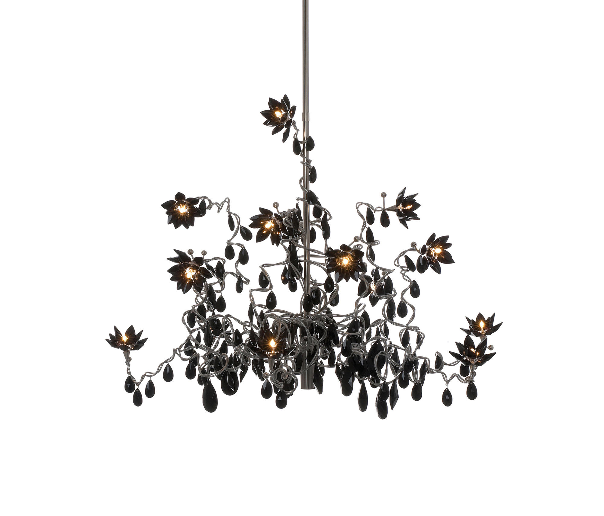 Jewel Chandelier Pendant Light 12 Black Suspended Lights From
