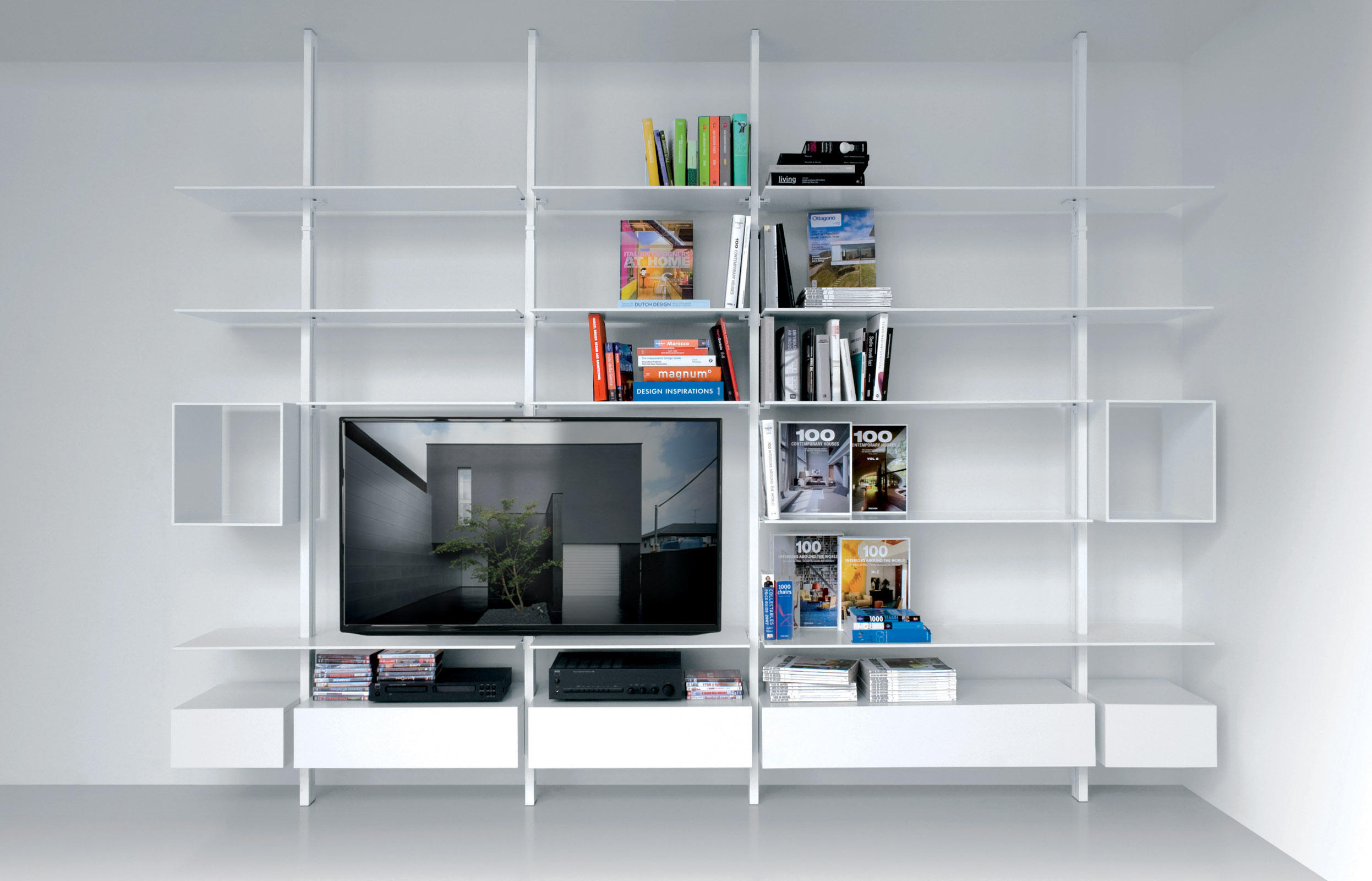 open curated ceiling to floor this bookcase collection collect creative shelving freshome com idea ideas