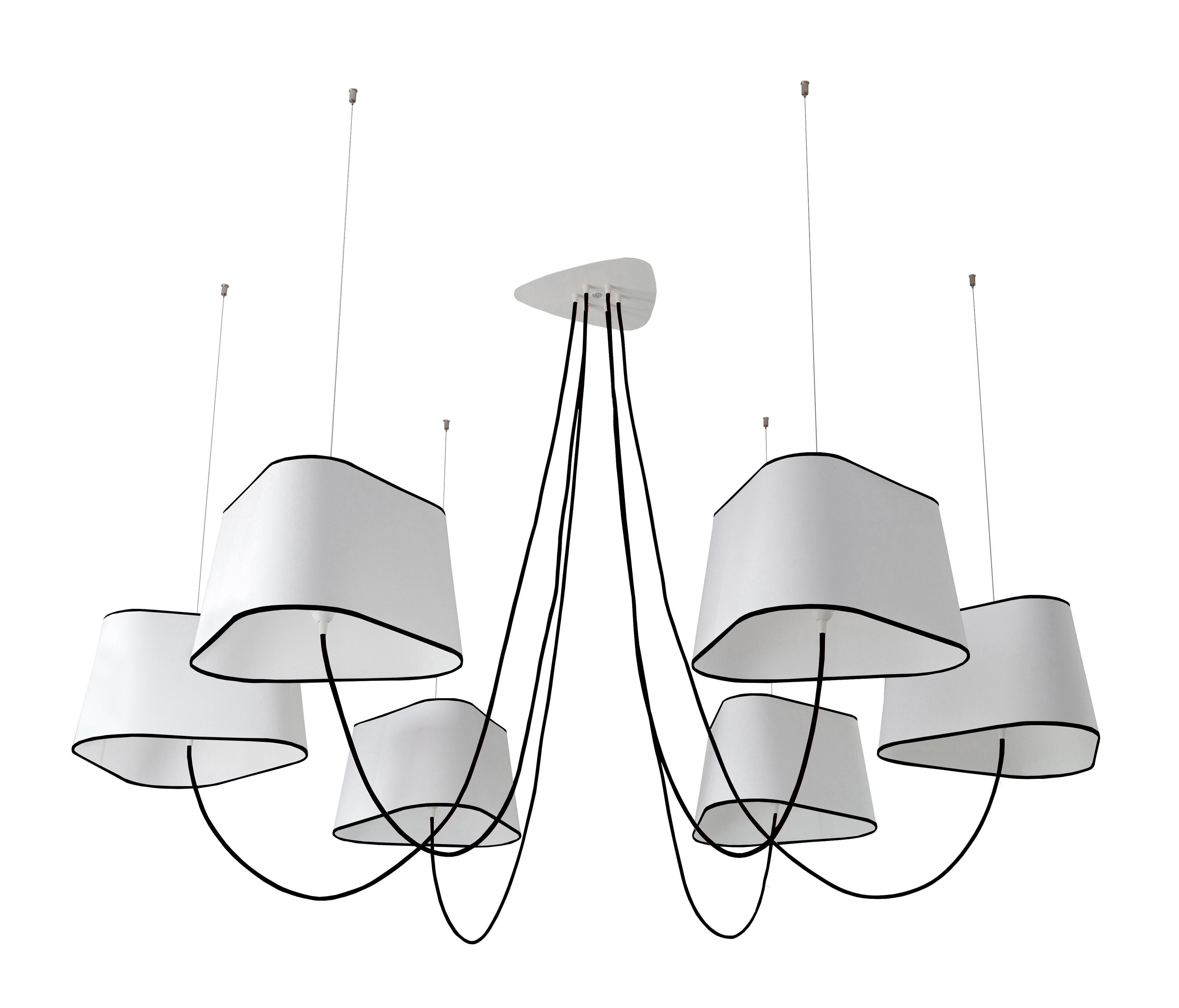 Nuage chandelier 6 large ceiling suspended chandeliers for Lustre 3 suspensions