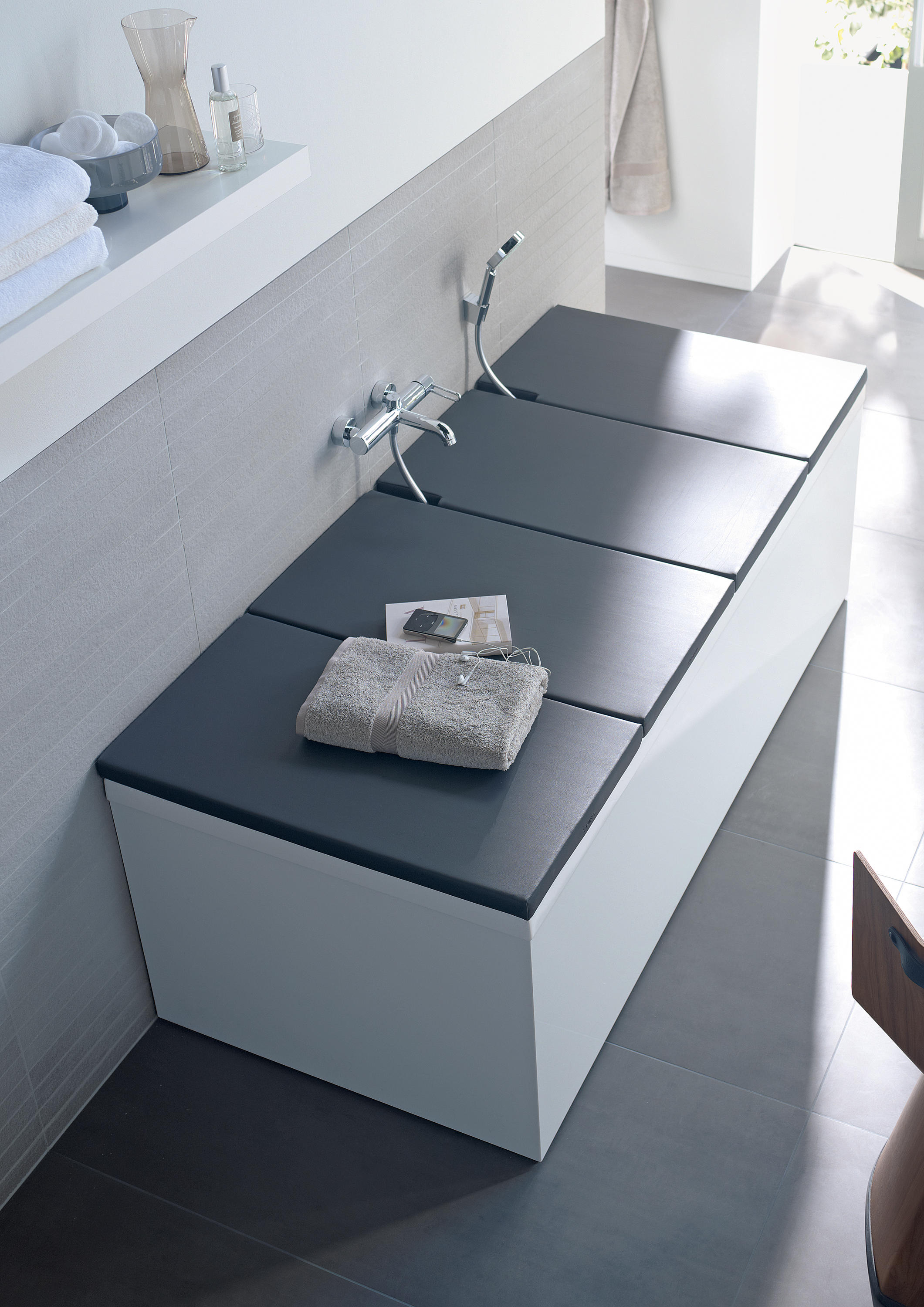 shelves wood by corian bathtub shelf from h and tray dressage graff product in en solid