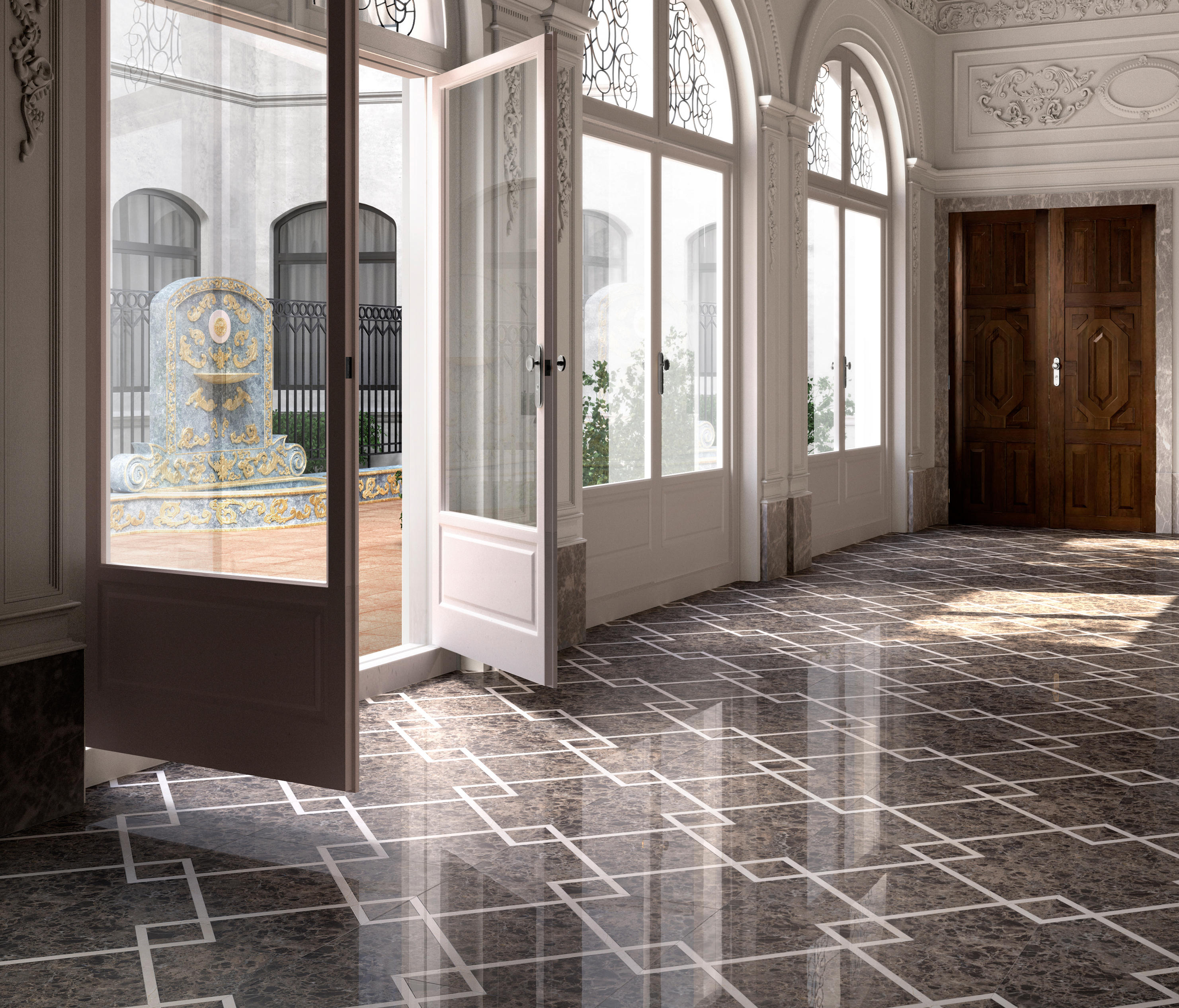 Prestige marble flooring natural stone panels from devon for Floor marble design