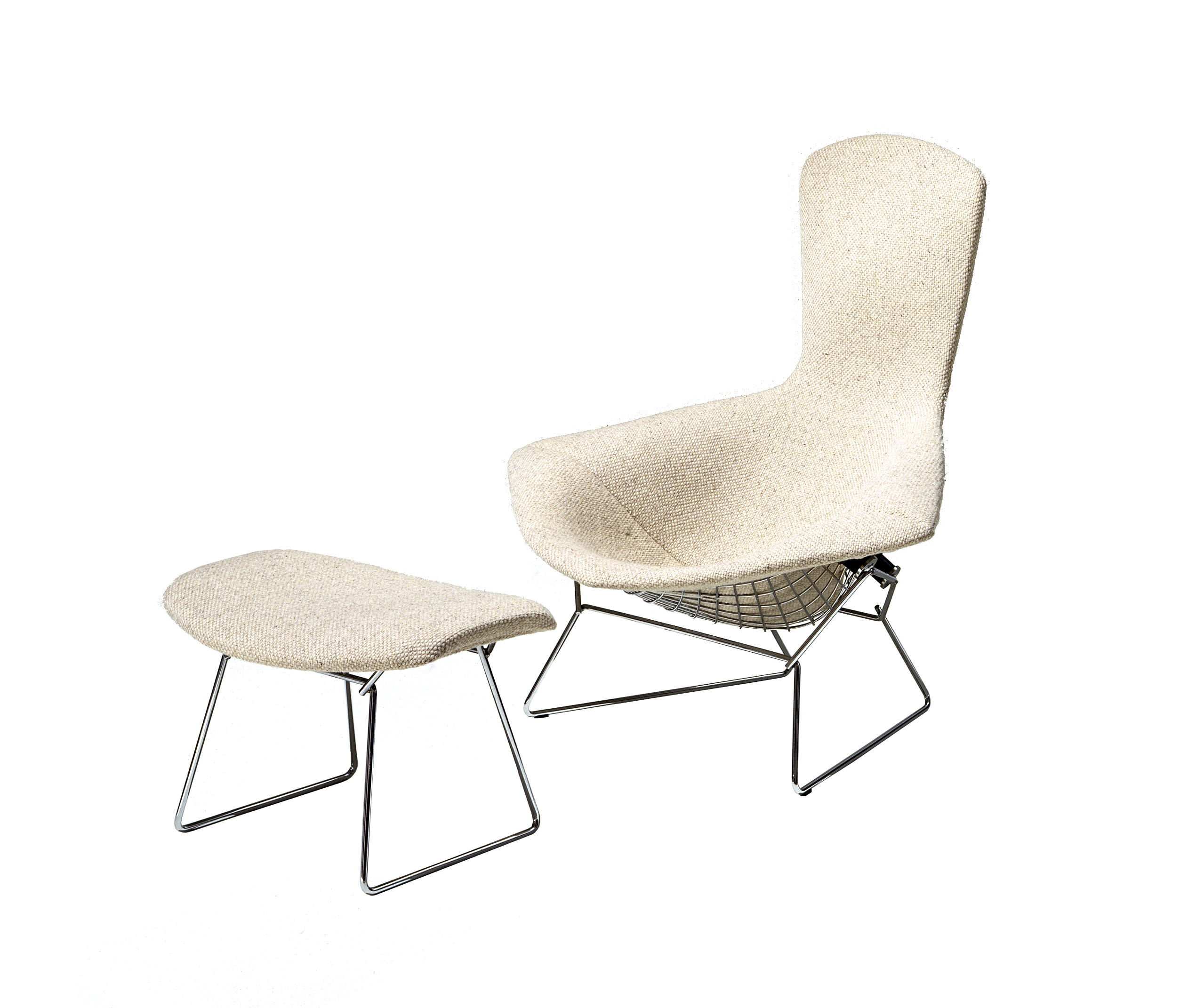 bertoia fauteuil haut dossier et pouf fauteuils de knoll international architonic. Black Bedroom Furniture Sets. Home Design Ideas