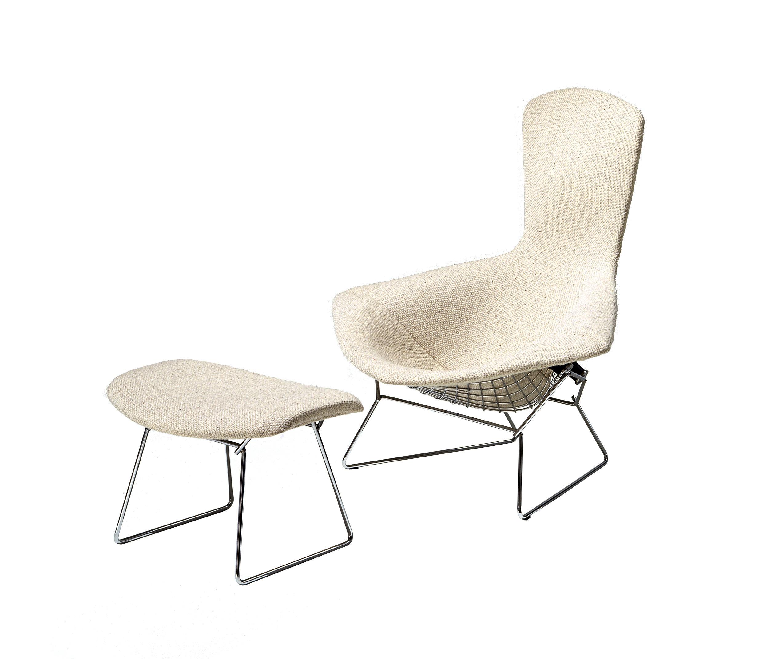 Bertoia fauteuil haut dossier et pouf fauteuils de knoll international ar - Fauteuil bertoia knoll ...