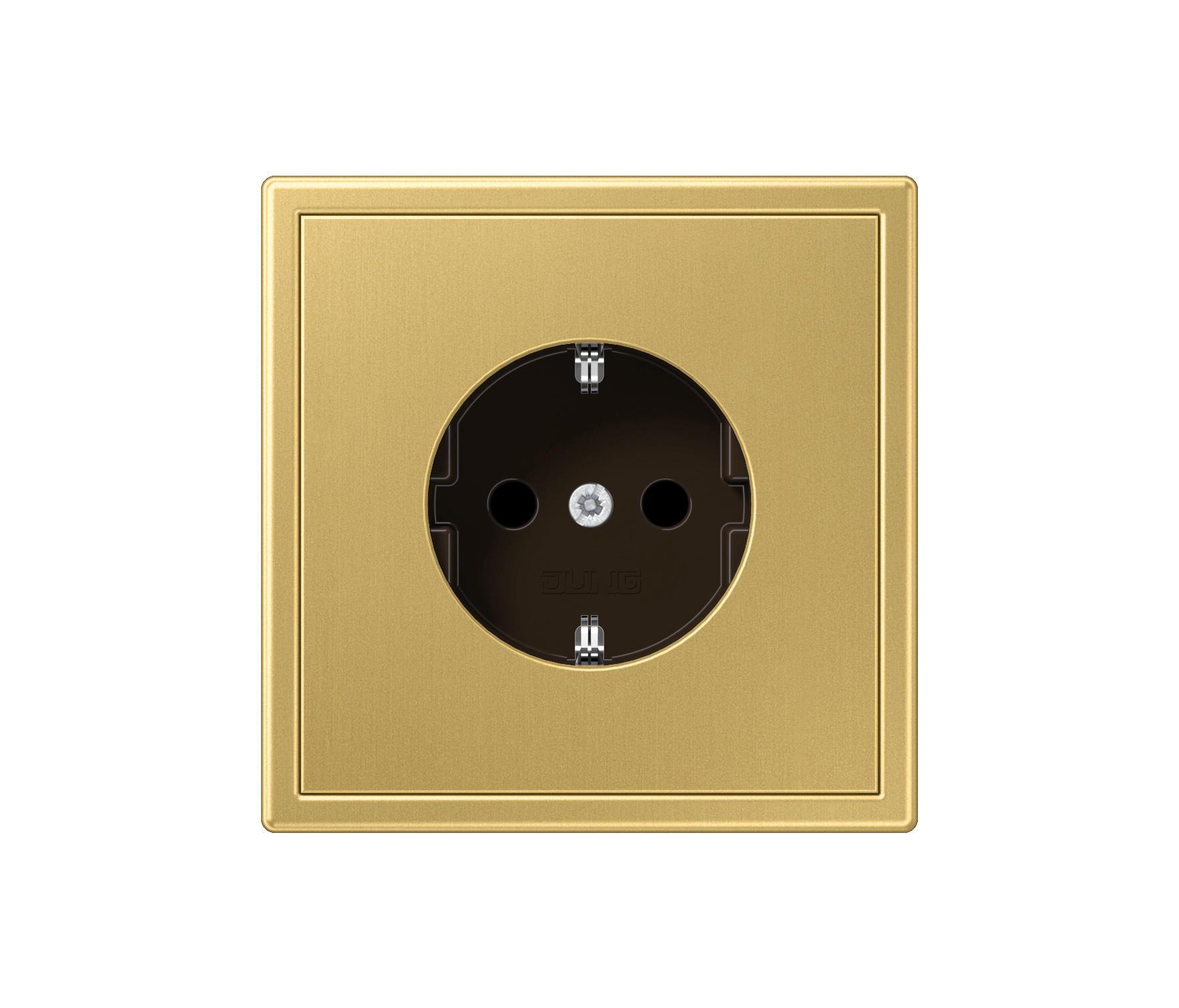 ls 990 messing classic steckdose schuko stecker von jung. Black Bedroom Furniture Sets. Home Design Ideas