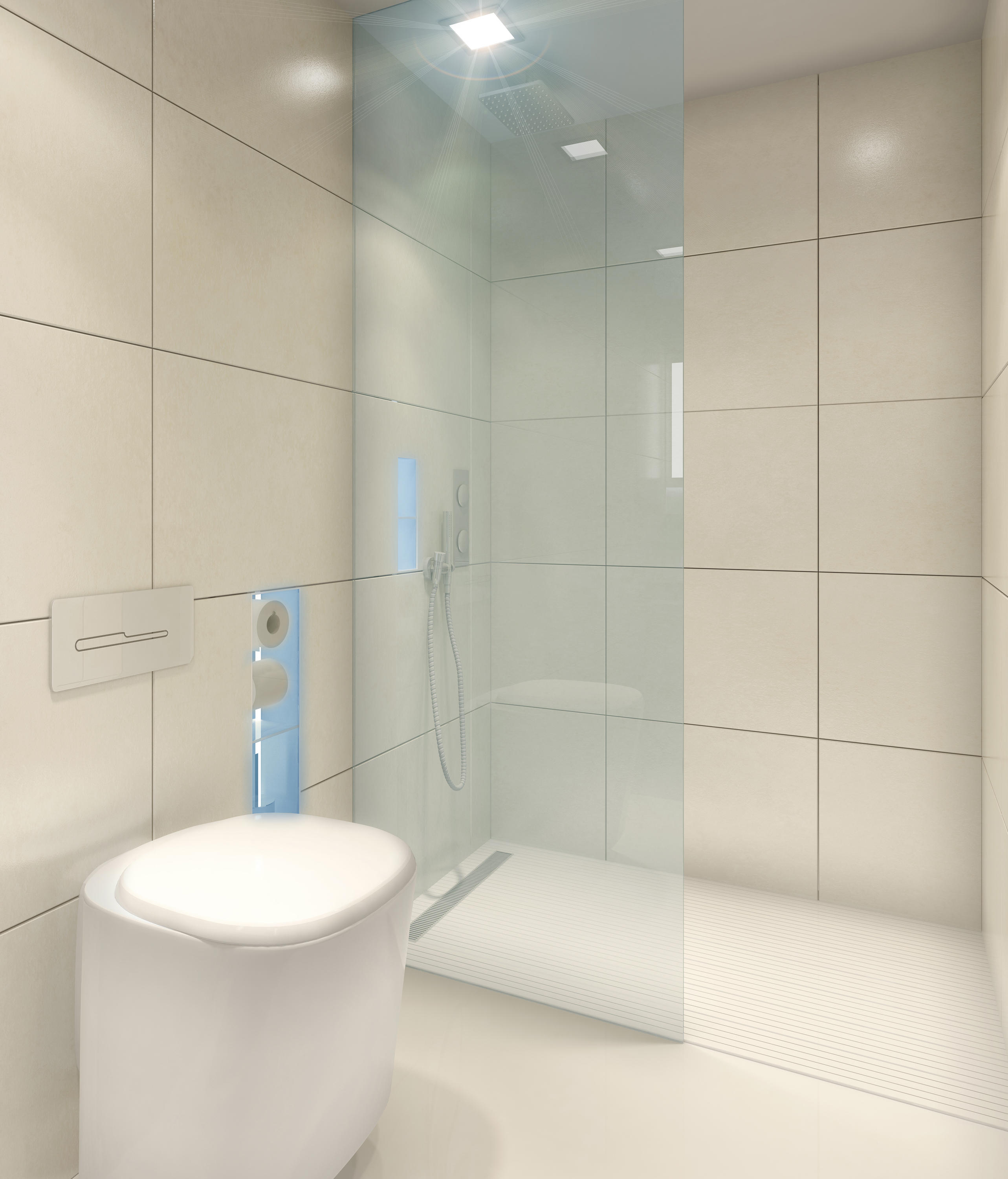 BUILT IN TOILET/SHOWER WHITE - Shower screens from AMOS DESIGN ...