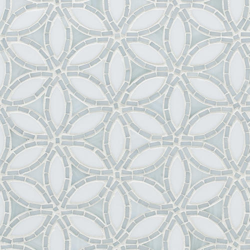 Flapper Floral Be Bop White Glass Mosaic Glass Mosaics