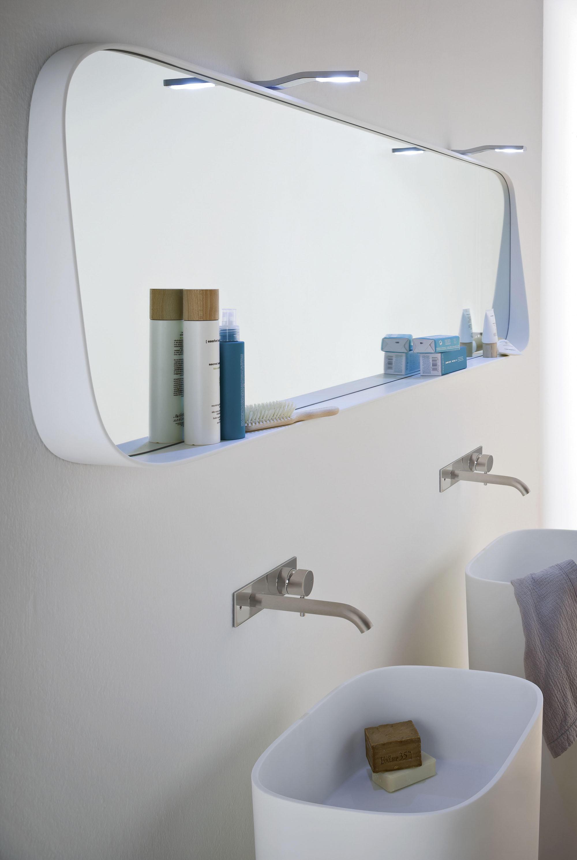 Fonte specchiera con mensola specchi da parete rexa - Lampade a parete per bagno ...