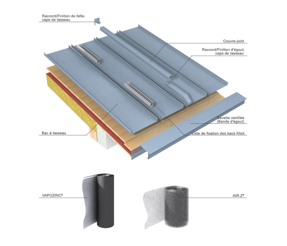 roof covering click roll cap by rheinzink roofing systems - Roof Covering