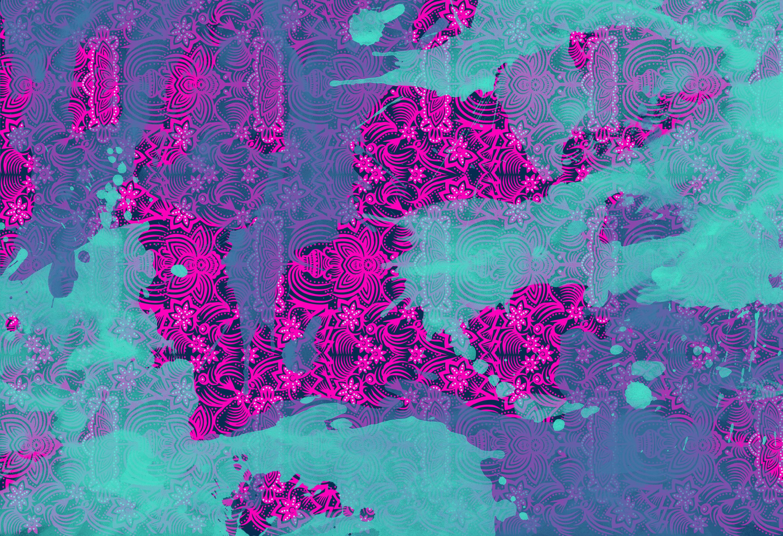 Abstrakte Muster | Blaue Farbe über Pink Design Von Wallunica | Holz Platten