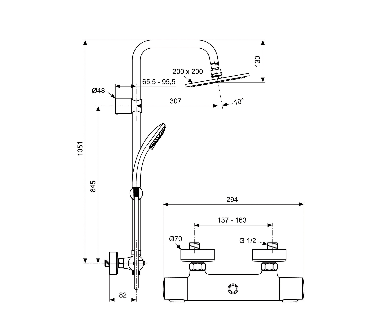ceratherm 100 neu duschsystem m mit ceratherm 100 neu. Black Bedroom Furniture Sets. Home Design Ideas