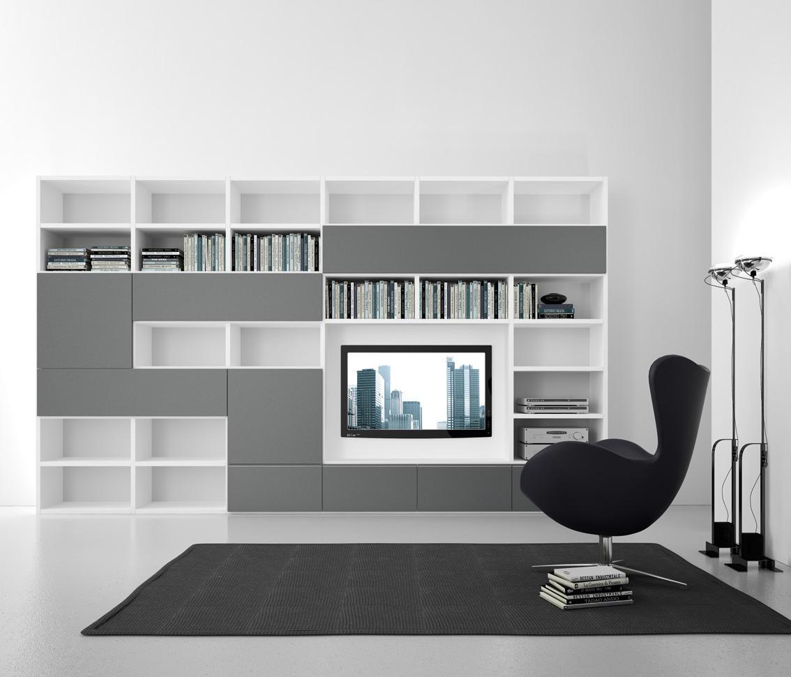 Pari dispari swing door arrangements wall storage for Presotto mobili