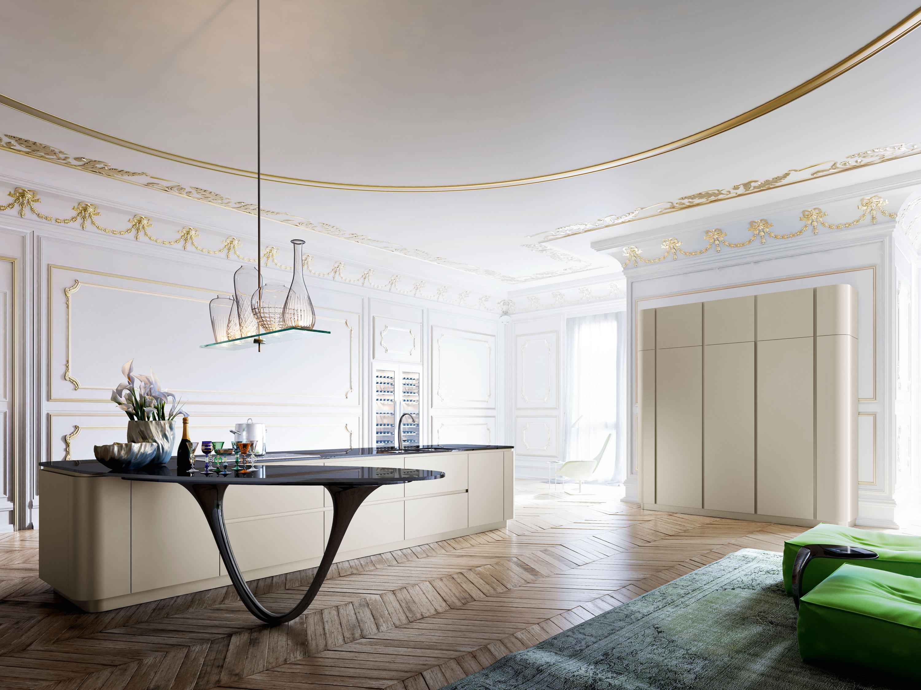 ^ Ola 25 Gold Limited dition - Fitted kitchens by Snaidero rchitonic