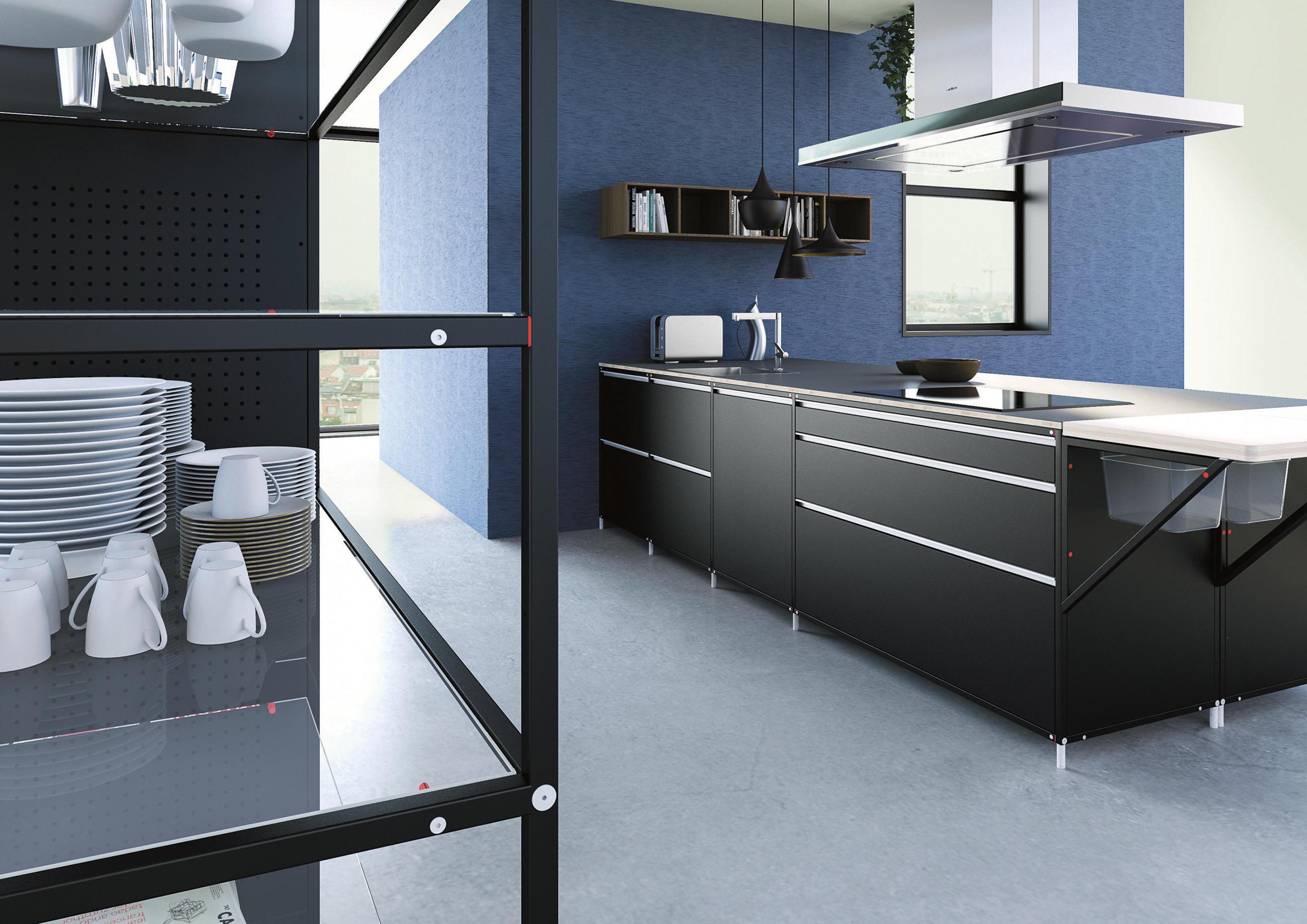 Meccanica iron wood cucine a parete di valcucine architonic - Cucine a parete ...