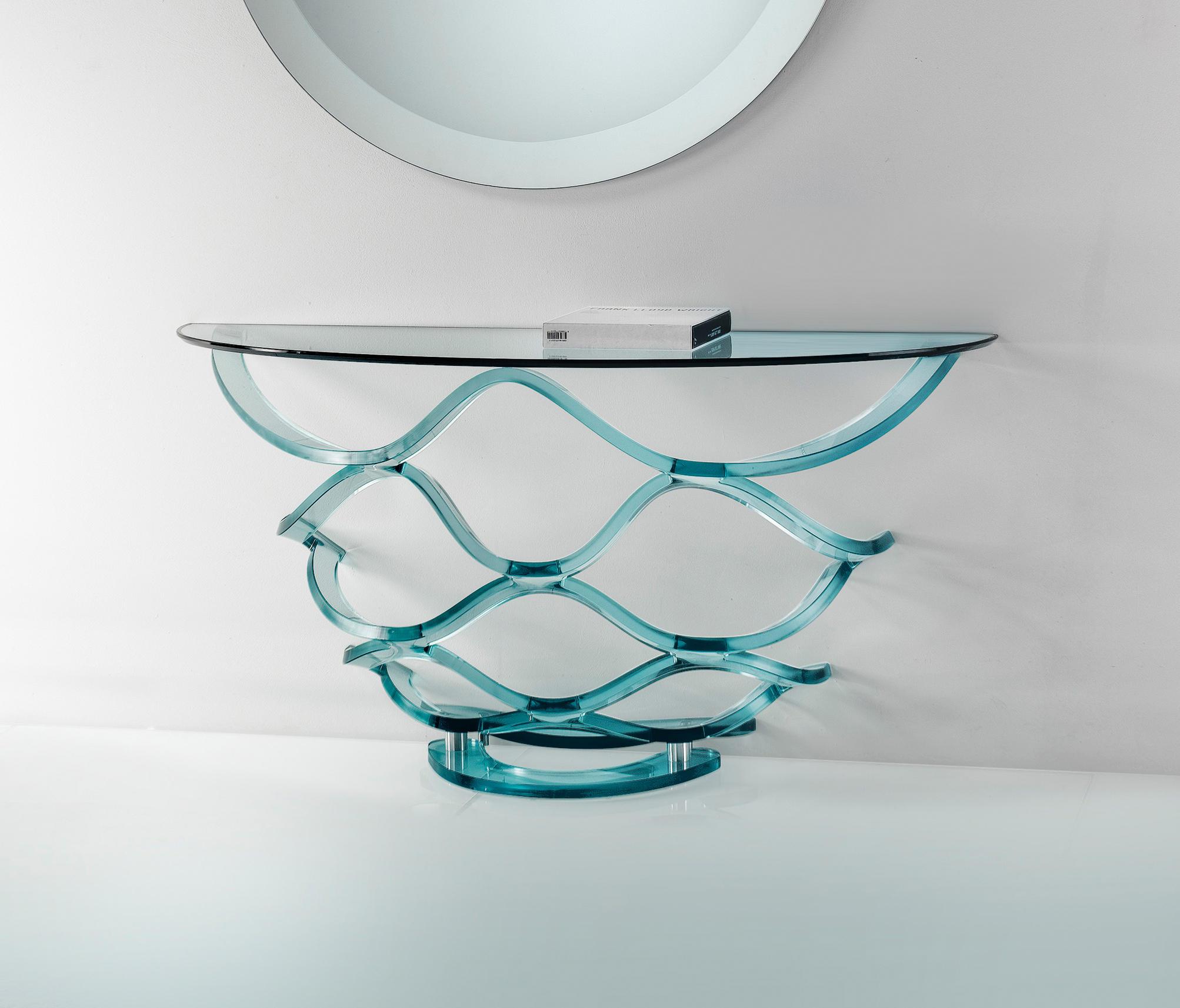 Neolitico console vetro tavoli a consolle reflex for Consolle in vetro